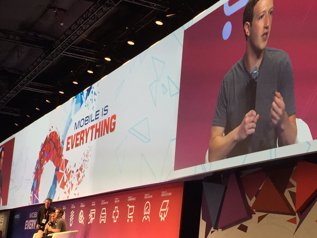 Mark Zuckerberg speaking at MWC 16