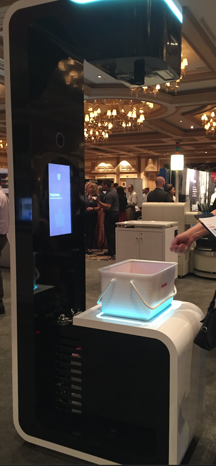 Product Fair demonstration of facial recognition self-checkout at Toshiba Connect 2016.