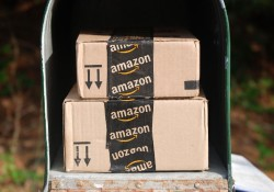 Hagerstown, MD, USA - May 29, 2015: Image of an Amazon packages. Amazon is an online company and is the largest retailer in the world.