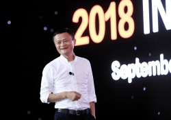 Jack Ma takes the stage at Alibaba's annual Investor Day event.